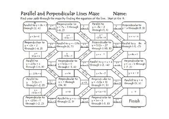 Equations Of Parallel And Perpendicular Lines Maze By Dawn Brown Parallel And Perpendicular Lines Perpendicular Equations