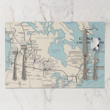 Map Of Canada Canada Air Mail Routes Paper Placemat Zazzle Com Placemats Unique Maps Air Mail