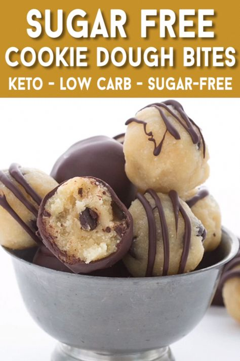 Keto cookie dough that you can eat raw! Roll them in to delicious truffles and dipped or drizzled in low carb dark chocolate. The perfect no-bake indulgence. #nobake #cookiedough #easyketo #LowCarbHighFatDietRecipes