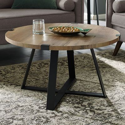 Winmoor Home Transitional Round Coffee Table Rustic Oak Round