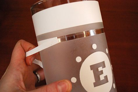 How to make etch a glass vase and free monogrammed DIY glass etching template...I want to try this!