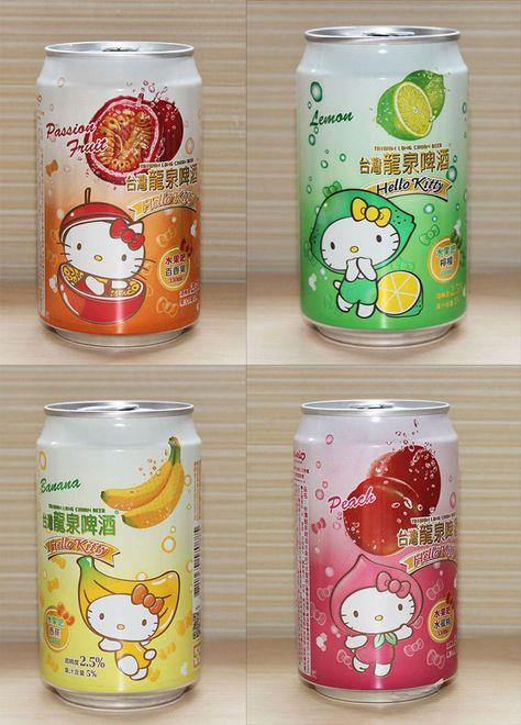 Hello Kitty Fruit-Flavored Beer, I'd drink it! Japanese Snacks, Japanese Candy, Japanese Sweets, Japanese Drinks, Desu Desu, 5 Rs, Japanese Packaging, Hello Kitty Items, Hello Kitty Collection