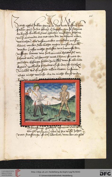 Cod. Pal. germ. 76: Johannes von Tepl: Der Ackermann aus Böhmen (Stuttgart - Werkstatt Ludwig Henfflin, um 1470), Fol 18r