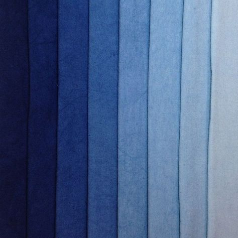 Tints of standard Indigo blue - denim blues- Eight colors bundled and sold together- Hand Dyed Cotton- Machine washable in Synthrapol- Single colors available as Yardage: Indigo