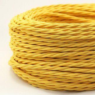 Textilkabel Gelb 3 Adrig 3x0 75 Gedreht Doppelt Isoliert Textilkabel Kabel Und Gelb