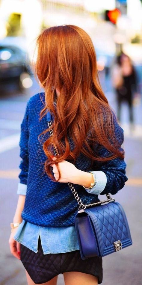 cheveux orange pour les filles, cheveux longues, coloration de cheveux tendance