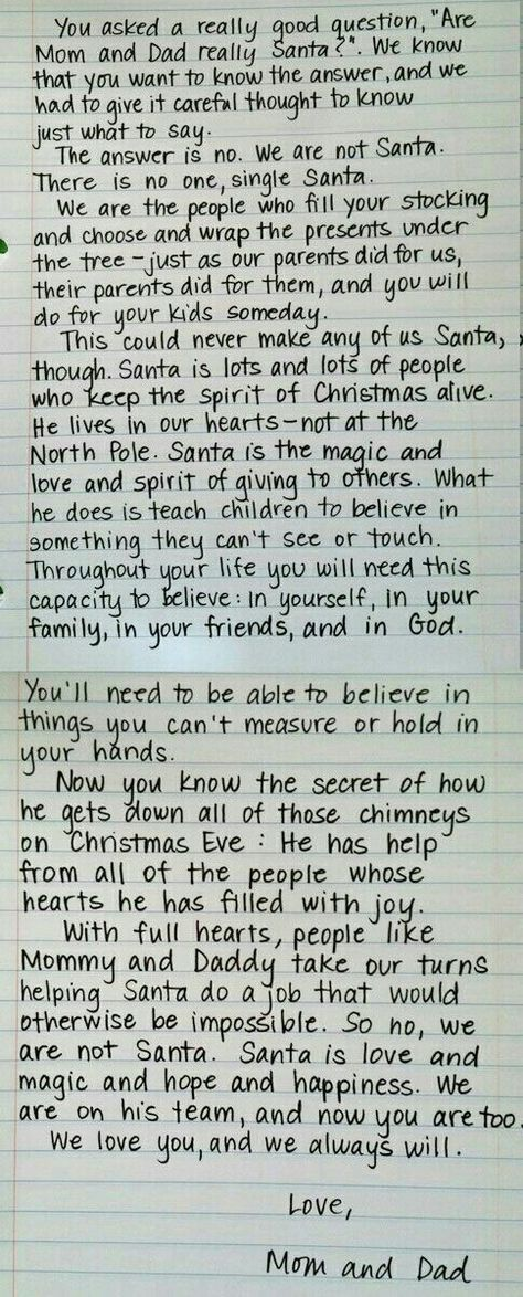 Santa Letter, for when the kids find out When he\u0027s Older