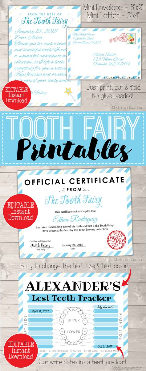 personalized tooth fairy letter kit boy printable download first lost tooth note set envelope template