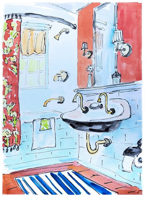 Bathroom Painting Blue And Red Original Bathroom Art Home Decor