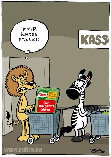 zebra löwe supermarkt kasse essen mittag mahlzeit knorr fix kochen küche wg einkauf peinlich hunger afrika nahrungskette