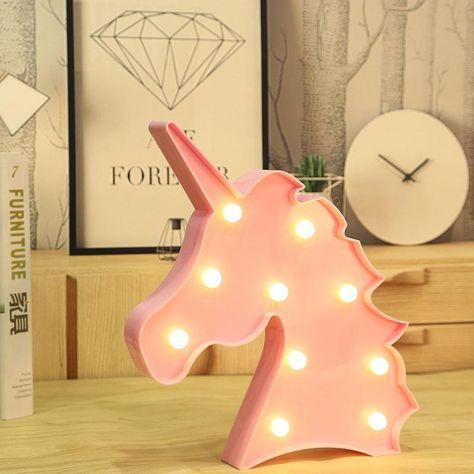 Lighting - Unicorn LED light / Kids Night light (Pink / White) (L-25)
