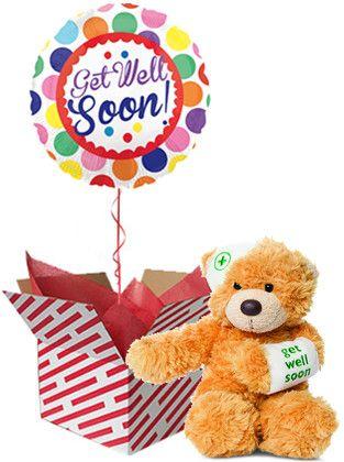 Get Well Teddy Bear And Balloon Gift Balloon Gift Get Well Balloons Get Well Gifts