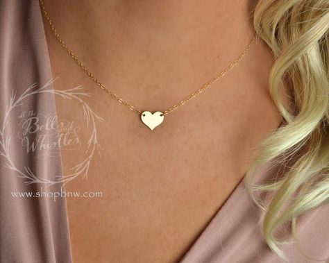 Etsy Heart Necklace, Personalized Necklace, Gold Necklace, Delicate Necklace, bridesmaid gifts, gift (ad)