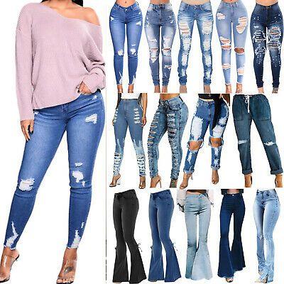 Women Ripped Stretchy Jeans Leggings Ladies Skinny Jegging Slim Pants Trousers