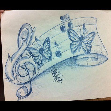 Tattoo Inspiration - Tattoo Inspiration I don& like the butterflies, but .- Tattoo Inspiration – Tattoo Inspiration I don& like the butterflies, but the treble clef is pretty – Music Drawings, Music Artwork, Cool Art Drawings, Pencil Art Drawings, Art Drawings Sketches, Tattoo Drawings, Music Tattoo Designs, Music Tattoos, Body Art Tattoos