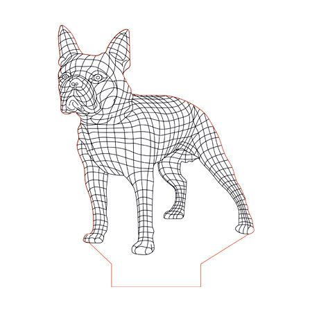 Boston Terrier 3d Illusion Lamp Plan Vector File For Laser And Cnc 3bee Studio 3d Illusions Illusions 3d Illusion Lamp