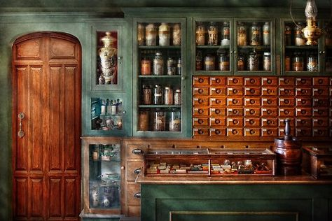 Pharmacy - Medicine - Pharmaceutical remedies by Mike Savad Apothecary Decor, Apothecary Cabinet, Interior Exterior, Interior Design, Medicine Cabinet Organization, Room Organization, Architecture Restaurant, Pharmacy Design, Secret Rooms