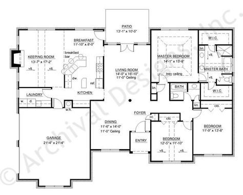Hickory II House Plan - not split bedrooms but like, 2100 sq ... on small house plans with split bedrooms, 3 bedroom plans with split bedrooms, ranch home 4 bedrooms house plans,