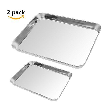 2pack Cookie Baking Sheet Kuorle Pure Stainless Steel Commercial Bakeware Set Nonstick Baking Pans For Toaster Nonstick Baking Pans Bakeware Set Baking Pans
