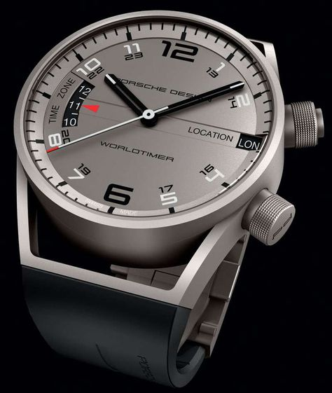 The pure styling of Porsche Design's Worldtimer is heightened by the tones and properties of the titanium, which underscores the timepiece's balanced lines. As well as simplicity, character and eff…