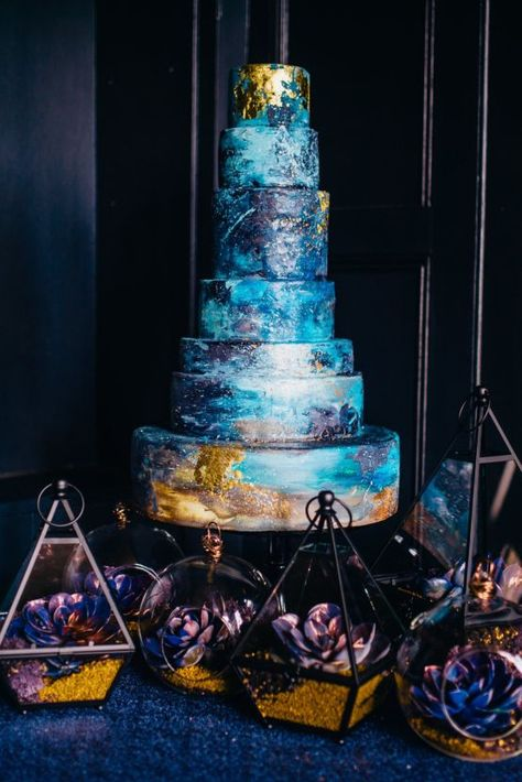 Gorgeous Indigo & Gold Wedding Inspiration Dark Wedding Inspiration by Abigail Steed Photography, The Bijou Bride and.