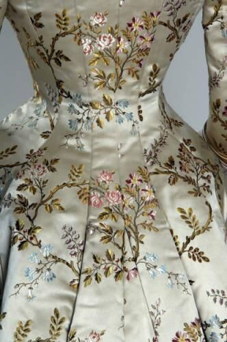 Victorian silk brocade and silk satin dinner dress with lace detail by House of Pingat [French], c. 1878 {detail of silk brocade silk brocade and silk satin dinner dress with lace detail by House of Pingat [French], c. 1878 {detail of silk brocade}