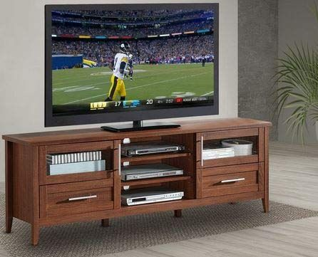 Tv Stand For 70 Inch Tv Oak Wood Three Open Two Enclosed Shelves