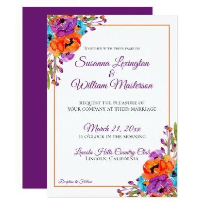 Fl Watercolor Wedding Invitation