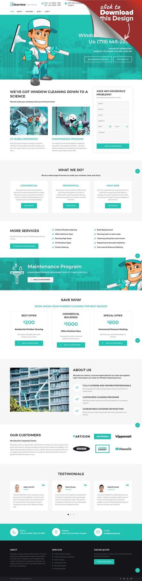 Clearview - Tema WordPress para Sitio de Servicios de Limpieza de Ventanas