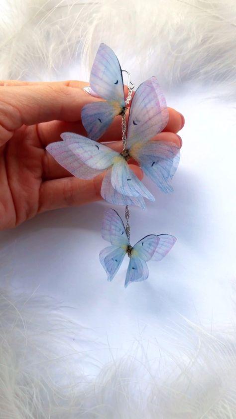 Something Blue Butterfly Earrings, Long Butterfly Earrings