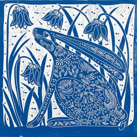 linocut Hare and Bluebells blue printmaking by linocutheaven