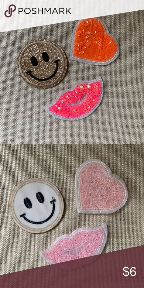 😀Super Fun Sequin Iron on / Glue on Patches (3)💋 😀Super Fun Sequin Iron on / Glue on Patches (3 total) 💋  A great touch to your favorite jean jacket, hat or tee! Accessories