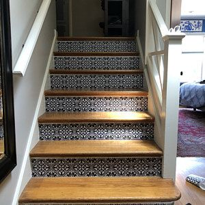 Floor Tile Sticker Peel And Stick For Kitchen Bath Removable Etsy In 2020 Stair Riser Vinyl Wall Waterproofing Stair Risers