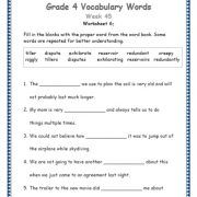 Grade 4 Vocabulary Words And Worksheets Vocabulary Words