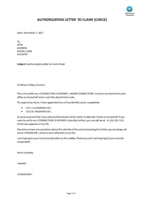 How To Write An Effective Authorization Letter For Claiming A