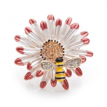Broszka Kwiat Stokrotka Biala Pszczola Yellow Bee Daisy Flower Enamel Brooch