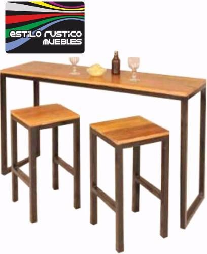 Barra Desayunador Hierro Y Madera Diseño Industrial 2 199 00 En Mercado Libre Bar Stools For Kitchen Is Mesas Madera Y Hierro Muebles De Metal Mesa De Bar