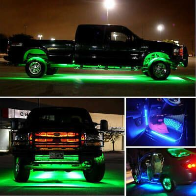 4pcs 7 Color Led Strip Under Car Tube Underglow Underbody System Neon Lights Kit In 2020 Led Lights For Trucks Truck Lights Car