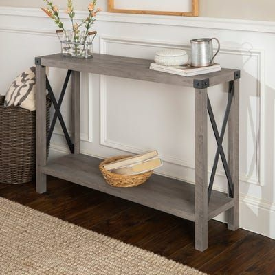 Modern Farmhouse Gray Wash Console Table Rustic Console Tables