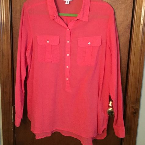 Blouse! Long sleeved red-orange blouse! Has buttons going 3/4 of the way down and has two pockets on the front as well! The blouse is sheer and is in great condition! Old Navy Tops Button Down Shirts