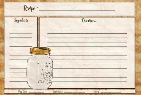 Mason Jar Recipe Card 4X6 - Pdf | Cocina (Recetas, Cuadrantes