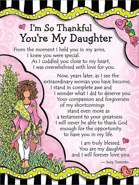 """Amazon.com: Miniature Easel Print with Magnet: I'm So Thankful You're My Daughter, 3.6"""" x 4.9"""": Office Products"""