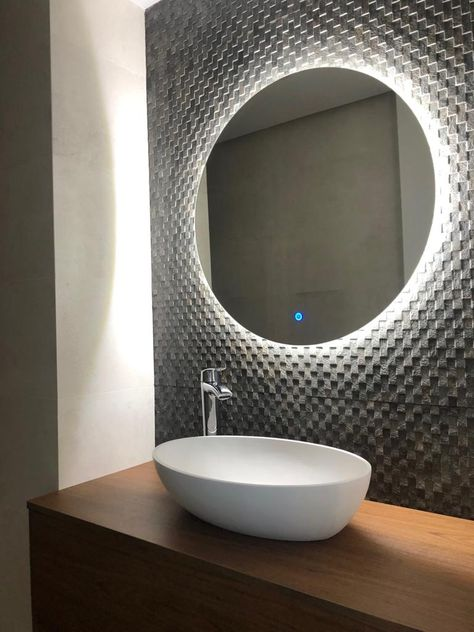 Baño Con Espejo De Luz Trasera Espejo Redondo Para Baño Espejos Para Baños Espejos