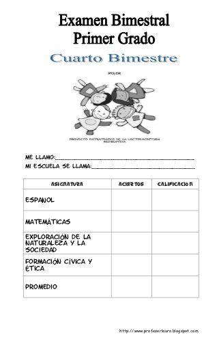 Examen Primer Grado De Primaria Iv Bimestre Primer Grado Messages