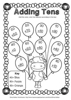 Adding Tens Onto Two Digit Numbers Worksheets Printables For Grade One First Grade Math Worksheets First Grade Activities 1st Grade Math