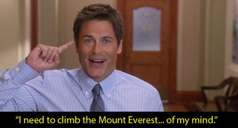 Parks and Recreation: When Chris Traeger decides to see a therapist to treat his depression.