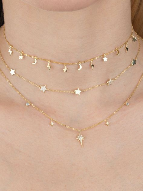 Look toward the skies for inspiration with this solid celestial charms choker, featuring alluring star, lightning bolt and crescent moon charms set on a choker of glowing gold vermeil. Girls Jewelry, Jewelry Accessories, Jewelry Design, Women Jewelry, Baby Jewelry, Prom Jewelry, Star Jewelry, Bling Jewelry, Simple Jewelry