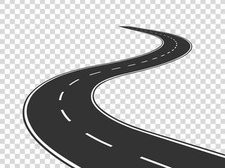 Winding Road Journey Traffic Curved Highway Road To Horizon In Perspective Winding Asphalt Empty Line Isol Winding Road Poster Background Design Road Design