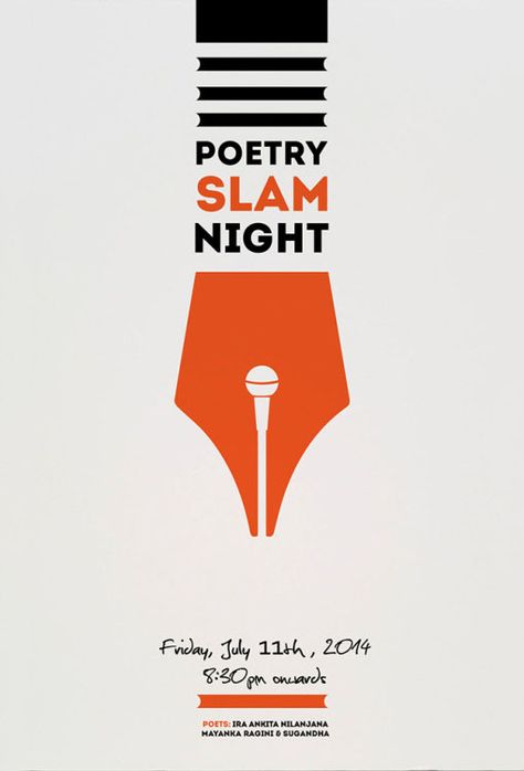 Pinned by my student Jake. Poster for open mic poetry night by Utkarsh Khatri