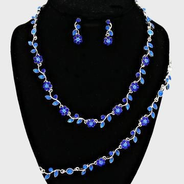 VINTAGE DESIGN SHAPHIRE BLUE  DIAMANTE CRYSTAL TEAR DROP NECKLACE EARRING SET